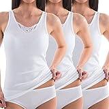 HERMKO 1440 3er Pack Damen Unterhemd mit Spitze aus 100% Baumwolle, Achselhemd Kochfest, Farbe:weiß, Größe:54 (XXL)