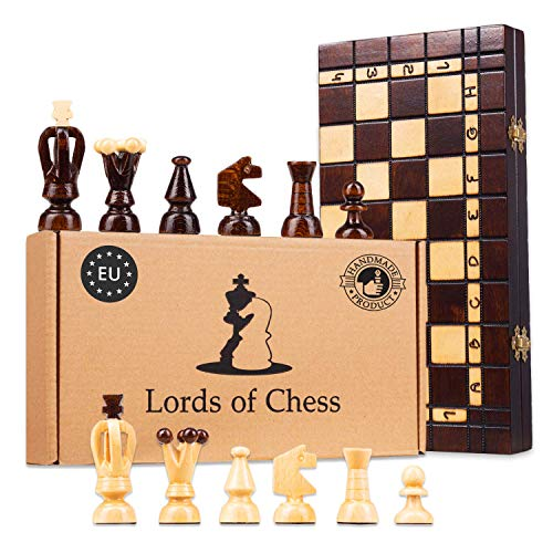 Amazinggirl schaakspel | Opvouwbare doos | Met de hand gesneden houten schaakstukken | Milieuvriendelijk en kindveilig