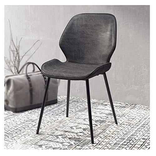 fevilady Esszimmerstühle 2 Stück Leder Dining Chair Home Zurück Dining Chair In Make-up-Stuhl Nordic Einfache Freizeit Meeting Negotiation Eisenstuhles Essensstuhl (Color : A Pair of Dark Gray)