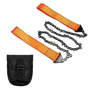 Prmape Pocket Saw Scie à Main, Tronçonneuse Manuelle Portable, Pocket Chainsaw kit Survie pour Camping, Randonnée, Survie Gear