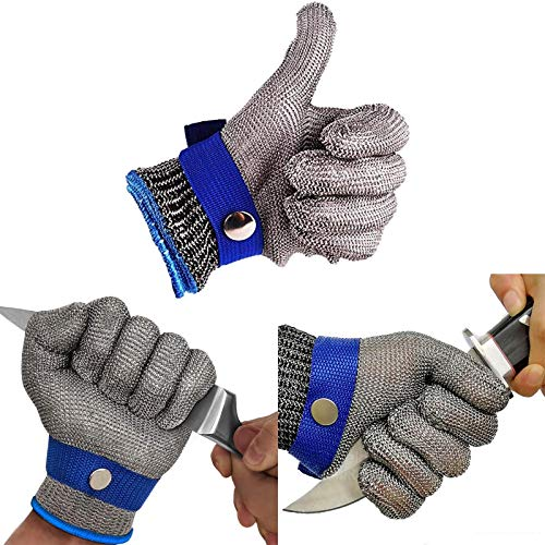 DGTJSHIBA Schneidfester Handschuh, Edelstahldraht Metallgitter Metzger Sicherheitsarbeitshandschuh, KüChenschutzhandschuh für Den Umgang Mit Lebensmitteln, Fleischverarbeitung KüChenschneiden L