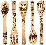 Set di Cucchiai di Legno di Natale BESTZY 5PCS Utensili da Cucina cucchiai in legno di bambù per Natale Festa Decor Forniture per Cucina della Casa