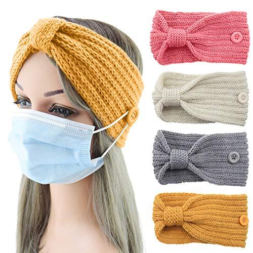 Yisscen 4 Piezas Cabeza Anchas Cabello Turbante Banda Diadema tejida de invierno Diademas de punto grueso, diadema de turbante de ganchillo, Ear Warmer Crochet Head Wraps para mujeres niñas