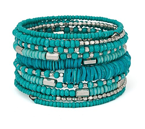 SPUNKYsoul Handmade Bohemian Coil in Aqua Teal and Silver Bracelet for Women Collection