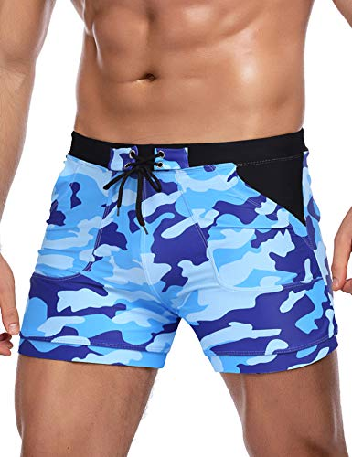 COOFANDY Men's Swim Trunk Blue Quick Dry Swimming Shorts Sexy Men Swimsuit