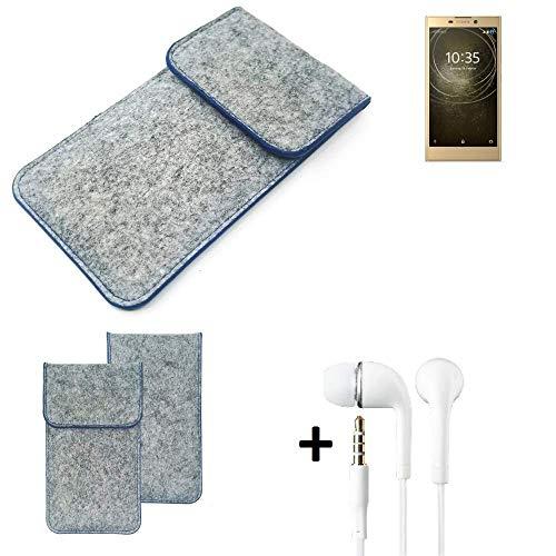 K-S-Trade Filz Schutz Hülle Für Sony Xperia L2 Dual-SIM Schutzhülle Filztasche Pouch Tasche Handyhülle Filzhülle Hellgrau, Blauer Rand + Kopfhörer