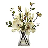 Nearly Natural 4534-WH Magnolia Arrangement with Vase,White