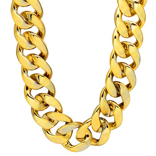 TUOKAY Thick Acrylic Puppy Gold Chain Collar Dog Bling Fat Costume Fake Gold Chain for Roll Dog Pet Cat for a Costume Party, Light Weight, Adjustbale Length