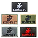 Antrix 5 Pieces Tactical US USA Army USMC Semper Fi Emblem Badge Patch Hook and Loop Fastener US Marine Corps Maxim