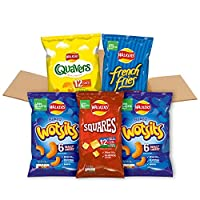 Walkers under 100 calories multipack snacks box contains 48 of your favourite Walkers snacks Includes 1 x quavers cheese multipack (12 packs), 2 x wotsits cheese multipack (6 packs), 1 x french fries variety multipack (12 packs) and 1 x squares varie...