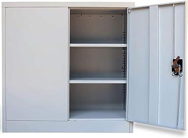 (Fast Delivery) Metal Storage Cabinet, Locking Metal Storage Cabinet with 2 Adjustable Shelves, Steel Classic Storage Cabine