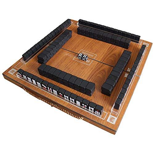 HSF Mini Mahjong Set Dice Melamine Caja de Almacenamiento Plegable de Viaje Portátil Multijugador Juego Juego Entretenimiento Casual Party Actividades Juego Mah Jong (Color : Black)