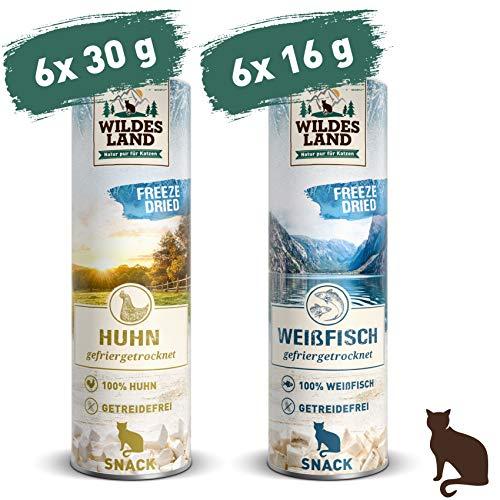 Wildes Land | Freeze Dried Snack für Katzen | Mix | 12 x | artgerecht | 100% Huhn & Weißfisch | schonende Gefriertrocknung | getreidefrei