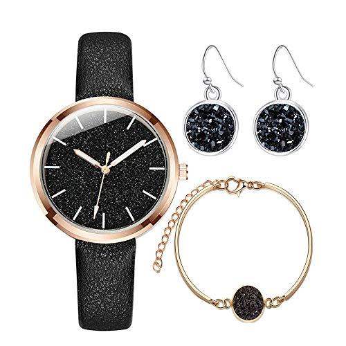 DoreenBow Cadeau Parure 1PC Montre à Quartz Analogique Brillant 1PC Bracelet Fantaisie et 1Paire Boucles d'oreilles Bijoux Cadeau Ensemble pour Femme