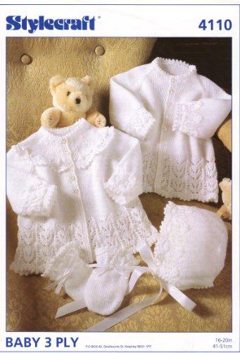 Stylecraft Baby's Jassen, Bonnet en Wanten Breipatroon 4110: Om op de borst 16-20in te passen