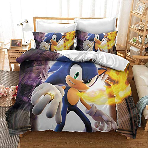 MENGBB Bedding Duvet Cover Set 3D Print Cartoon anime characters online games cute 200x200cm Total 4 Size, give away pillowcase, Printed Bedding Quilt Cover with Zipper Closure, 3 Pieces (1 Duvet Cove