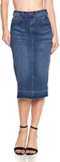 Women's Plus/Junior Size Calf Length Pencil Stretch Denim Skirt