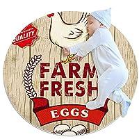 ソフトラウンドエリアラグ滑り止めフロアサークルマット 80x80cm/31.5x31.5IN 吸収性メモリースポンジスタンディングマット,農場の新鮮な卵鶏