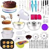 Cake Decorating Supplies 238 PCS Baking Set with Electric Hand Mixer Mixing Bowls Cake Pans, Cake...