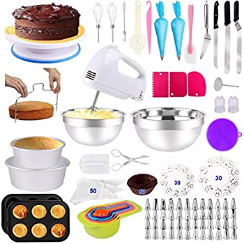 Cake Decorating Supplies 238 PCS Baking Set with Electric Hand Mixer Mixing Bowls Cake Pans Cake Rotating Turntable Muffin and Cupcake Pans ,Cake Decorating Kits for Beginners and Cake Lovers