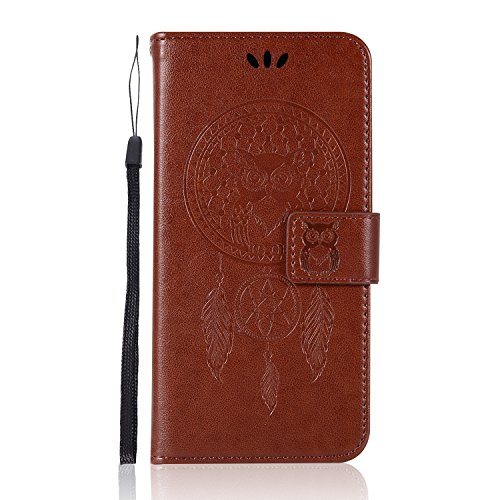 Sunrive Hülle Für BlackBerry DTEK50 / Alcatel Idol 4, Magnetisch Schaltfläche Ledertasche Schutzhülle Hülle Handyhülle Schalen Handy Tasche Lederhülle(Waldkauz)