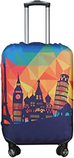 Explore Land Travel Luggage Cover Trolley Case Protective Cover Fits 23-27 Inch Luggage (Modern City, M(23-27 inch luggage))
