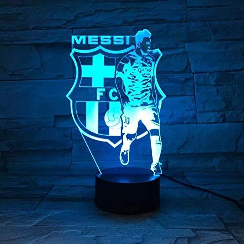 giyiohok 3D Optische 3D Illusionslampen LED Barcelona Messi Team Nachtlicht Weihnachten Valentinstag Geburtstagsgeschenk für Fans Kinderspielzeug 7 Farbwechsel Touch USB Schreibtisch Dekorationen