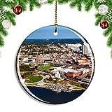Weekino Estados Unidos América Montgomery Alabama Decoración de Navidad �rbol de Navidad Adorno Colgante Ciudad Viaje Colección de Recuerdos Porcelana 2.85 Pulgadas