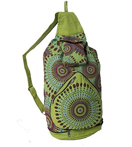 KUNST UND MAGIE Bunter Hippie Rucksack, Farbe:Lemon