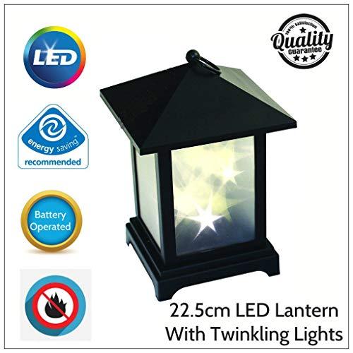 GadgetZone® LED-Kerzenlaternen im traditionellen Stil, funkelnd, batteriebetrieben, innen und außen, 22,5 cm schwarze LED-Laterne mit funkelnden Lichtern