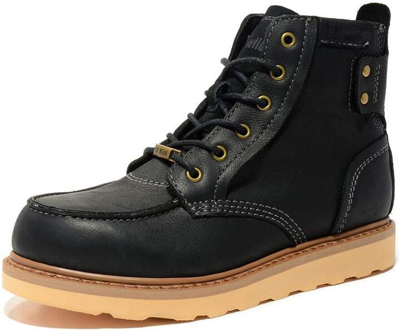 Y -H Mans Casual skor, läder Fall    Winter High -top verktygsskor, Lace -up Martines stövlar, män utomhus gående skor, Military stövlar (Färg  svart, Storlek  40)  bara för dig