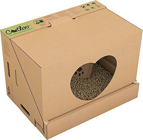 Westerwälder Holzpellets GmbH CATLOO - Bio-Einweg-Katzentoilette Größe M - 50x35x35 cm (LxBxH) inkl. 2x2,2 kg Einstreu, Ausführung:mit Höhle