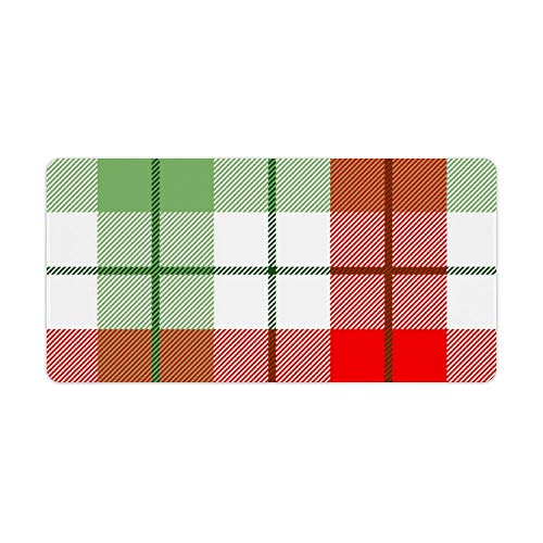Extended Gaming Mouse Pad with Stitched Edges Waterproof Large Keyboard Mat Non-Slip Rubber Base Red And Green Plaid Desk Pad for Gamer Office Home 12x24 Inch