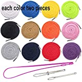 Luckkyme 24Pack Replacement Drawstrings Drawcords for Pants Sweatpants Hoodies Scrubs Jackets Shorts, with 3 Pieces Drawstring Threader Re-Threader Tool 53' Long(12 Color)