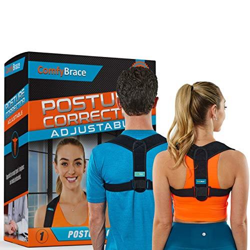 ComfyBrace Posture Corrector-Back Brace for Men and Women- Fully Adjustable Straightener for Mid, Upper Spine Support- Neck, Shoulder, Clavicle and Back Pain Relief-Breathable