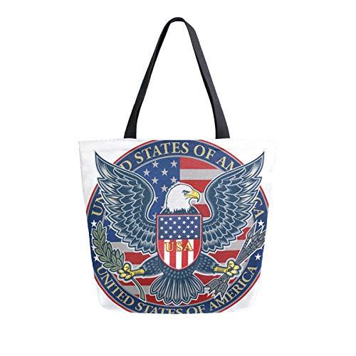 RURUTONG American Bald Eagle Bolsa de lona a granel para comestibles, bolsa de playa de hombro grande, reutilizable, bolso multiusos resistente, compras al aire libre 2012845