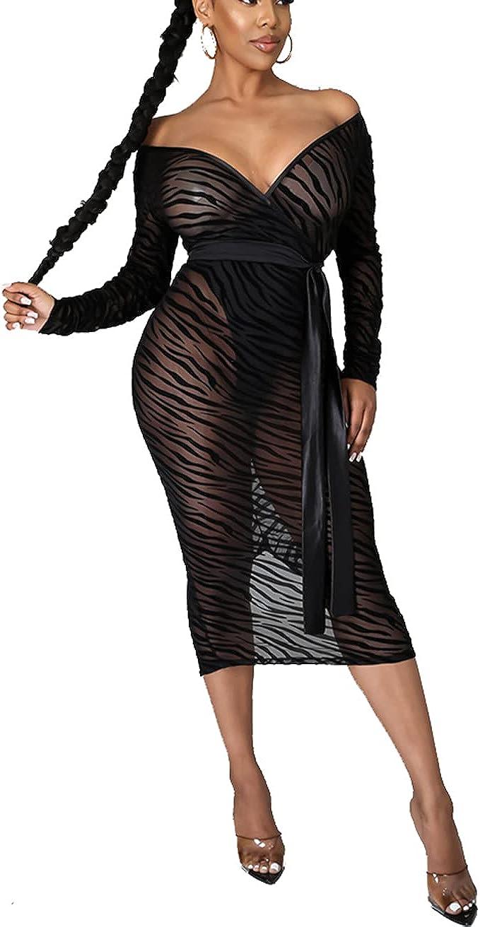 Bluewolfsea Women Sexy See Through Mesh Printed Bodycon Midi Dress with Belt Elegant Cocktail Party Dresses