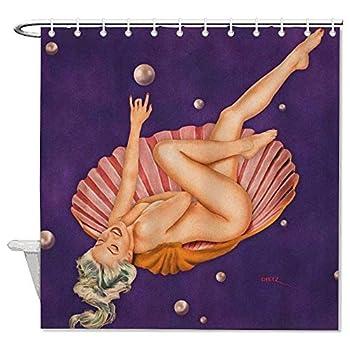 yyone Bath Curtain Under The Sea Retro & Vintage Pin Up Girl Mermaids Shower Curtain with Hooks for Bathroom Decor 60  X 72