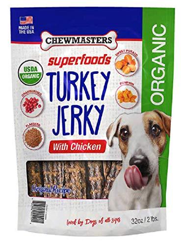 Chewmasters Turkey Jerky with Chicken Original Recipe Healthy Dog Treats Organic (2 LB)