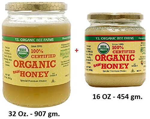 Organic Raw Honey - 100% Certified - Special Premium Choice - Unprocessed, Unpasteurized - Kosher 32Oz. + 16Oz. - (Pack of 2) -  YS Organic Bee Farm, SG-32-16ORG12128