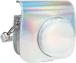 Queen3C Aurora Silver Mini 9 Camera Case Bag for Fujifilm Instax Mini 9 Mini8 Mini8+ Instant Camera, Soft PU Leather Bag with Removable Adjustable Shoulder Strap. (Case Bag, Aurora Silver)