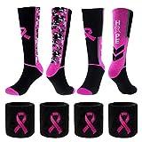 Breast Cancer Awareness Pink Ribbon Crew Socks & Wristbands Set- 1 Pair Hope Sock+ 1 Pair Camo Sock+ 4 Pcs Wrist Sweatbands