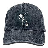 Wadestar Hommes et femmes réglable denim tissu casquettes de baseball squelette tamponner boule de bowling casquette snapback