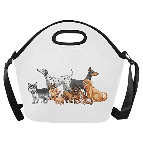 InterestPrint Neoprene Lunch Bag Unique Design Kind Of Dogs Best Lunch Boxes with Zipper and Shoulder Strap Keeps Lunch Fresh for Women, Adults, Kids, Girls, and Teen Girls