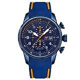JTTM Reloj Analógico De Cuarzo para Hombre Manos Luminosas Multifunción Calendario Impermeable Cronógrafo Correa En Silicona Casual Negocio Relojes,Blue Orange