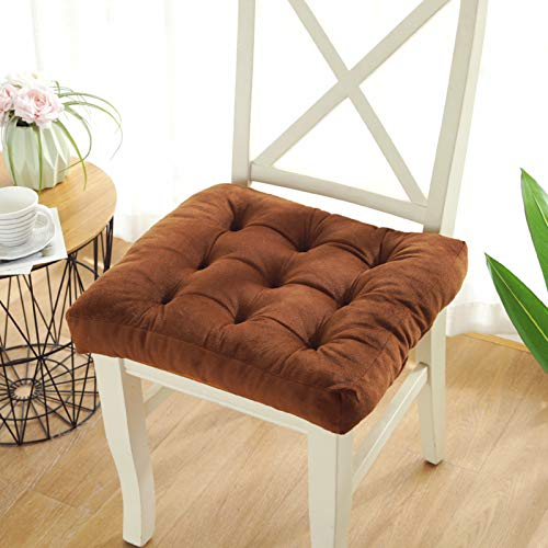QSCV Soft Office Student Cushion,Thick Tufted Square Chair Pad,Warmth Tatami Floor Pillow,Car Bench Balcony Seat Cushion-Brown 17.7in X17.7in