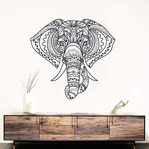 HNXDP Religion Mandala Elefant Wandaufkleber für Wohnzimmer Haus Dekoration Tiere Aufkleber Vinyl MuralHome Dekor 58cmx54cm