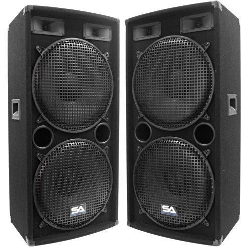 Seismic Audio - Pair of Dual 15' PA DJ SPEAKERS 1000 Watts PRO AUDIO - Band, Bar, Wedding, Church
