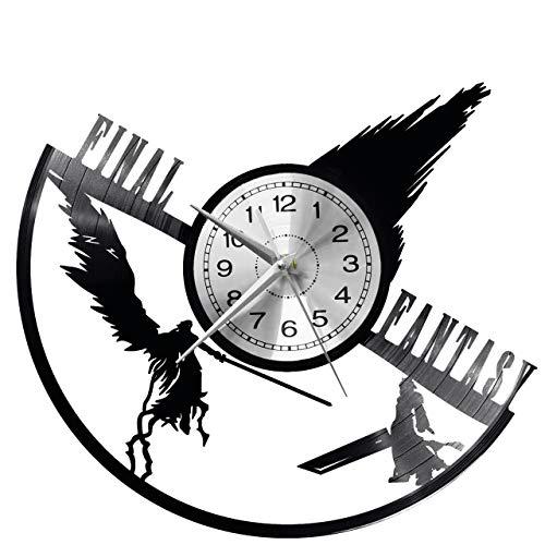 WoD Final Fantasy Orologio da Muro Unico Dischi in Vinile Movimento al Quarzo Silenzioso Handmade NeroCreativo Orologio Decorativo da Parete a Muro Mechanical Art Decor Disco in Vinile