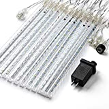 PGFUN Meteor Shower Rain Lights 12.2 inch 12 Tubes 288 LEDs Christmas Snow Falling Icicle LED String Lights Cascading Lighting for Wedding Garden Trees Patio Decoration
